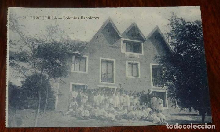 ANTIGUA POSTAL DE CERCEDILLA, MADRID, N.21, COLONIAS ESCOLARES, NO CIRCULADA, ED. BAZAR DE CERCEDILL (Postales - España - Comunidad de Madrid Antigua (hasta 1939))