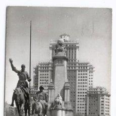 Postales: MADRID - MONUMENTO CERVANTES Y PLAZA ESPAÑA. Lote 15367313