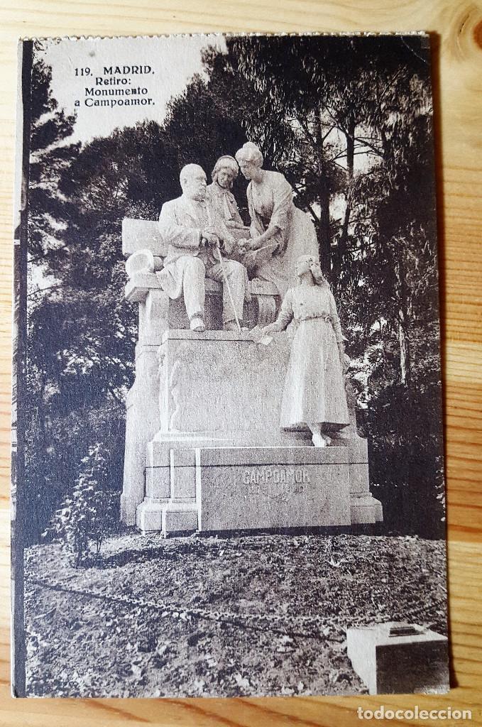 MADRID RETIRO MONUMENTO A CAMPOAMOR 1936 ED DESCONOCIDO SELLO REPUBLICA ESPAÑOLA (Postales - España - Madrid Moderna (desde 1940))