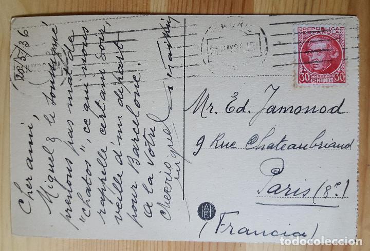 Postales: Madrid Retiro Monumento a Campoamor 1936 Ed desconocido sello Republica Española - Foto 2 - 150705982