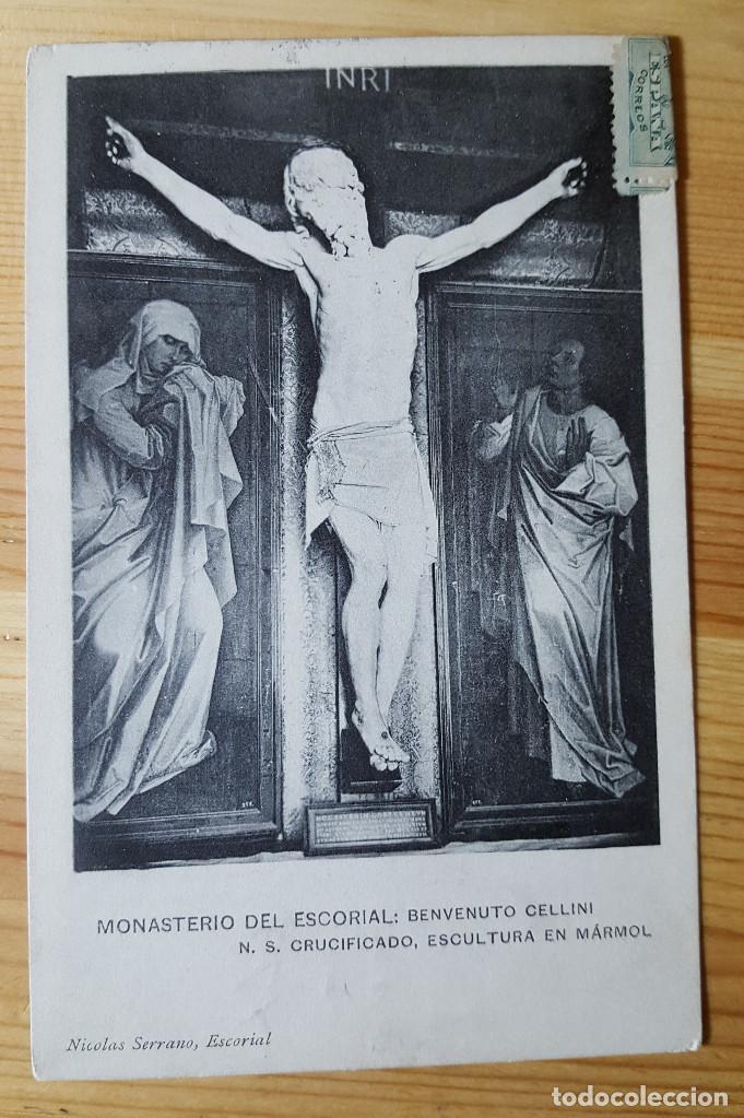 MONASTERIO DEL ESCORIAL BENVENUTO CELLINI N.S. CRUCIFICADO ESCULTURA EN MARMOL NICOLAS SERRANO 1911 (Postales - España - Madrid Moderna (desde 1940))