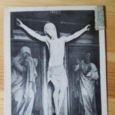 Postales: MONASTERIO DEL ESCORIAL BENVENUTO CELLINI N.S. CRUCIFICADO ESCULTURA EN MARMOL NICOLAS SERRANO 1911. Lote 150708402