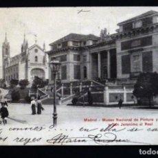 Postales: MADRID, MUSEO NACIONAL DE PINTURA Y SAN JERONIMO, POSTAL CIRCULADA CON SELLO DEL AÑO 1909. Lote 150821666