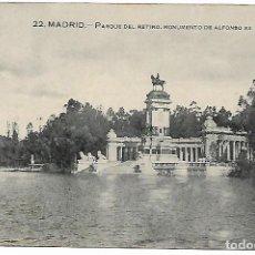 Postales: TARJETA POSTAL ANTIGUA DE MADRID PARQUE DEL RETIRO MONUMENTO DE ALFONSO XII - GRAFOS -. Lote 151412642