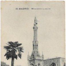 Postales: TARJETA POSTAL ANTIGUA DE MADRID MONUMENTO A COLON - GRAFOS -. Lote 151413086