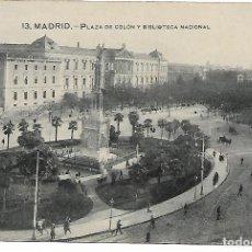 Postales: TARJETA POSTAL ANTIGUA DE MADRID PLAZA DE COLON Y BIBLIOTECA NACIONAL - GRAFOS -. Lote 151414330