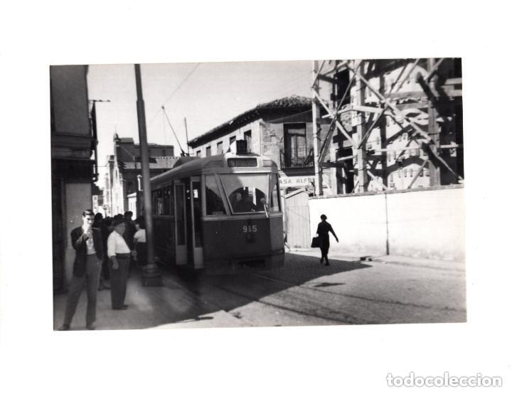 MADRID.- TRANVÍA. 1955. PUENTE DE VALLECAS. FOTOGRAFÍA TAMAÑO POSTAL (Postales - España - Comunidad de Madrid Antigua (hasta 1939))
