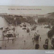 Postales: ANTIGUA POSTAL - MADRID - PASEO DE ATOCHA Y ESTACIÓN DEL MEDIODÍA - CIRCULADA - AÑOS 20. Lote 155738186