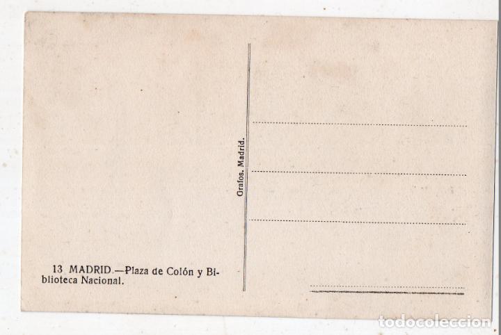 Postales: Madrid. Plaza de Colón y Biblioteca Nacional. - Foto 2 - 158560254