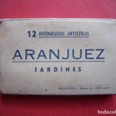 Postales: ARANJUEZ.-JARDINES.-12 FOTOGRAFIAS ARTISTICAS.-HELIOTIPIA.-POSTALES EN MINIATURA.-BLOC DE POSTALES.. Lote 160388690