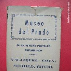 Postales: MUSEO DEL PRADO.-VELAZQUEZ.-GOYA.-MURILLO.-EL GRECO.-TIZIANO.-BLOC CON 30 POSTALES EDICION DE LUJO.. Lote 160556750