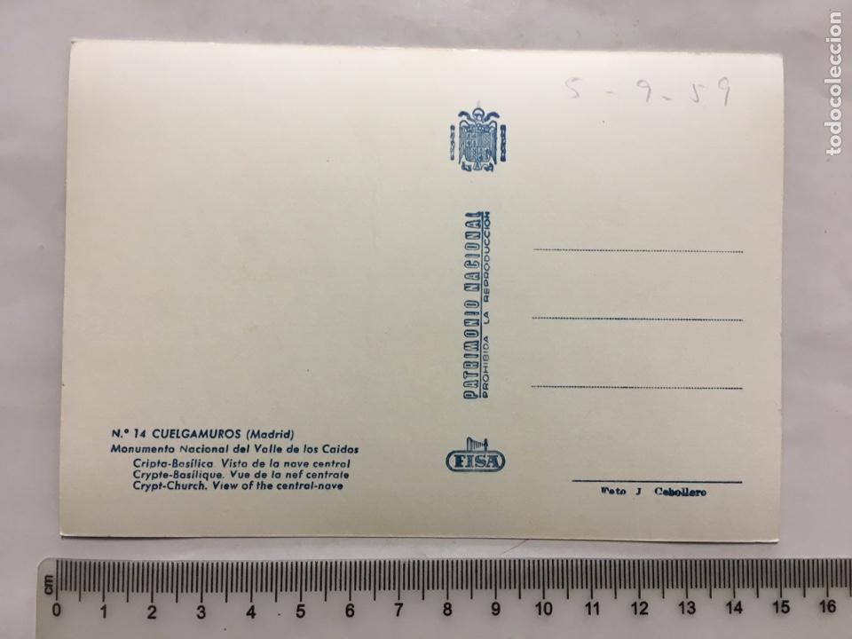Postales: POSTAL. CUELGAMUROS. MADRID. VALLE DE LOS CAÍDOS. FISA. FOTO J. CEBOLLERO. H. 1955?. - Foto 2 - 160593029