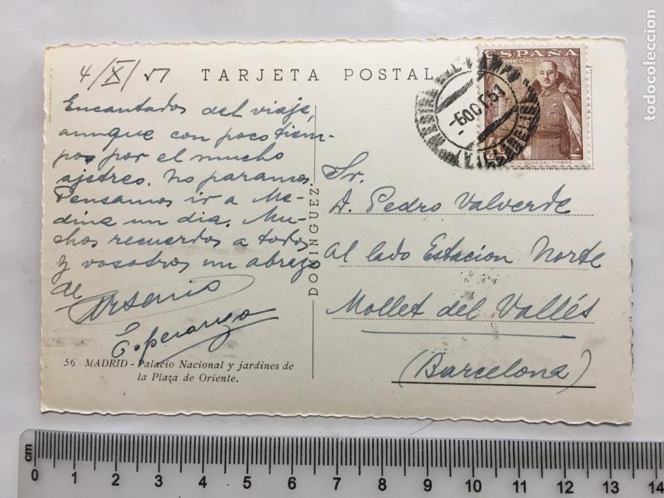 Postales: POSTAL. MADRID. PALACIO NACIONAL Y JARDINES. DOMÍNGUEZ. H. 1950?. - Foto 2 - 160594412