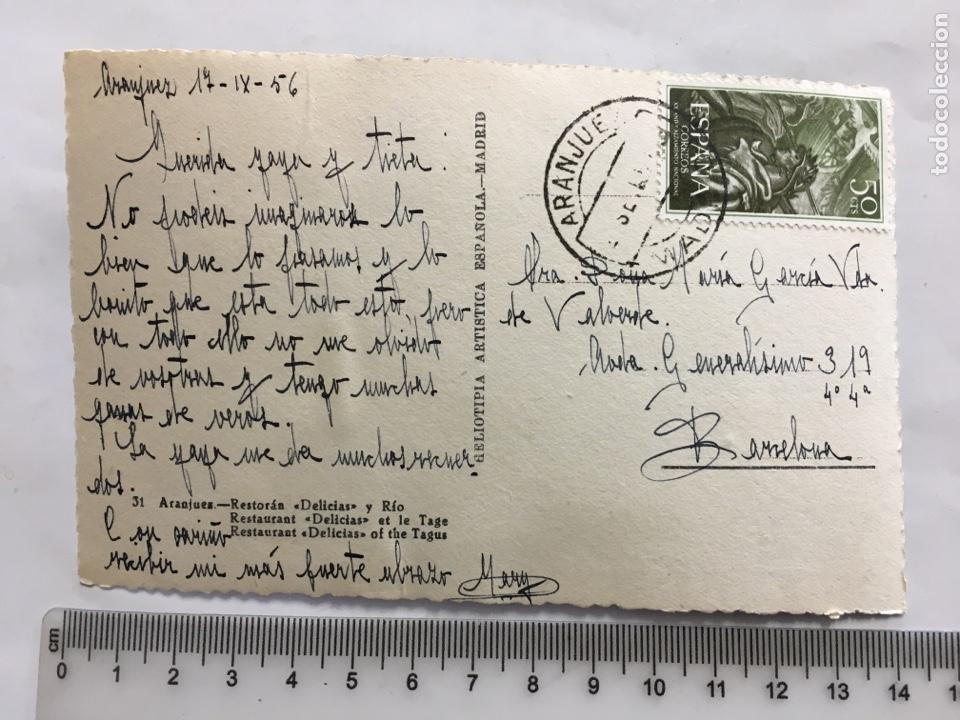 Postales: POSTAL. ARANJUEZ. RESTORAN DELICIAS Y RÍO. H. A. E. MADRID. H. 1950?. - Foto 2 - 160596093