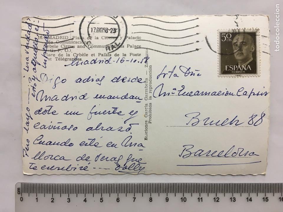Postales: POSTAL. MADRID. PLAZA DE LA CIBELES Y PALACIO DE COMUNICACIONES. EDIC. GARCÍA GARRABELLA. H. 1955?. - Foto 2 - 160604038