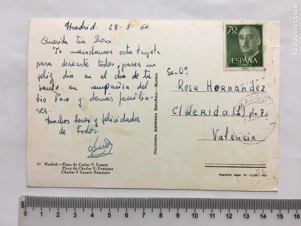 Postales: POSTAL. MADRID. PLAZA DE CARLOS V. FUENTE. H. A. E., MADRID. H. 1960?. - Foto 2 - 160605734