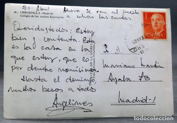 Postales: Postal Cercedilla Colegio Madres Escolapias Bazar Sierra circulada sello 1965 - Foto 2 - 160839038