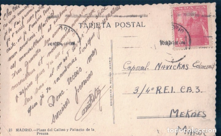 Postales: POSTAL MADRID 23 - PLAZA DEL CALLAO Y PALACIO DE LA PRENSA - F MOLINA - CIRCULADA - COCHES DE EPOCA - Foto 2 - 165525526