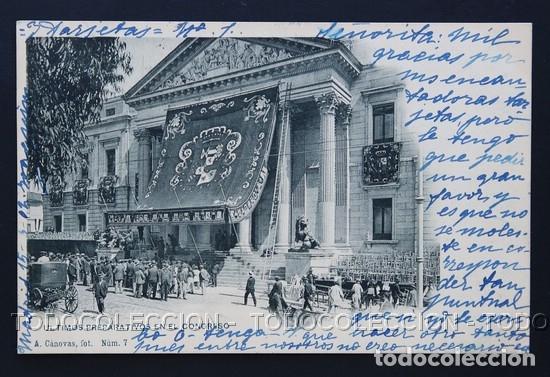 POSTAL MADRID CORONACION ALFONSO XIII ULTIMOS PREPARATIVOS EN EL CONGRESO A CANOVAS 7 HAUSER Y MENET (Postales - España - Comunidad de Madrid Antigua (hasta 1939))