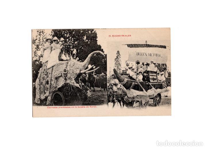 MADRID.- BODAS REALES, CARROZAS PREMIADAS EN BATALLA DE FLORES. (Postales - España - Comunidad de Madrid Antigua (hasta 1939))