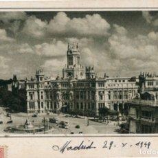 Postales: POSTAL ARTÍSTICA DE MADRID PLAZA DE LA CIBELES CIRCULADA 1949 EDICIONES GARCIA GARABELLA. Lote 168337612