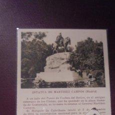 Postcards - MADRID - ESTATUA DE MARTINEZ CAMPOS EDC. CAYÓN MADRID TEXTO PEDRO DE RÉPIDE - 14X9 CM. - 169336892