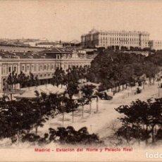 Postales: MADRID ESTACIÓN DEL NORTE Y PALACIO REAL POSTAL ANTIGUA. Lote 169623870
