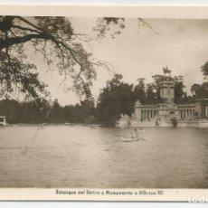 Postales: POSTAL FOTOGRAFICA ANTIGUA DE MADRID-EDICIONES ARRIBAS N.25-ESTANQUE RETIRO Y MONUMENTO-SIN CIRCULAR. Lote 171305904