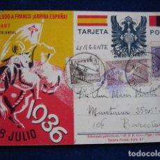 Postales: SALUDO A FRANCO ARRIBA ESPAÑA PUBLICACIONES PATRIOTICAS DOBLE VISTAS DE MADRID. Lote 173560617