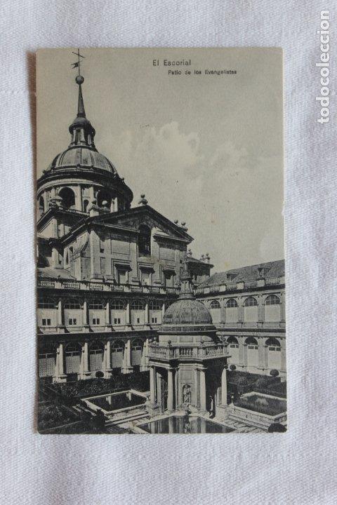 POSTAL EL ESCORIAL, PATIO DE LOS EVANGELISTAS, 1909, EDICION. E. VENTHEY (Postales - España - Comunidad de Madrid Antigua (hasta 1939))