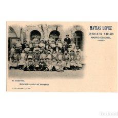 Postales: EL ESCORIAL.- SEGUNDO GRUPO DE OBREROS. PUBLICIDAD. MATIAS LOPEZ CHOCOLATES Y DULCES.. Lote 175067475