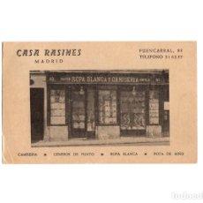 Postales: MADRID.- CASA RASINES. FUENCARRAL 83 CAMISERIA, GENEROS DE PUNTO. ROPA BLANCA. PUBLICIDAD.. Lote 175074074