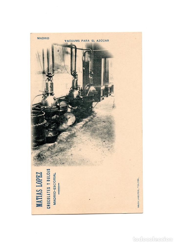 MADRID.- VACUUMS PARA EL AZÚCAR. PUBLICIDAD. MATIAS LOPEZ CHOCOLATES Y DULCES. EL ESCORIAL (Postales - España - Comunidad de Madrid Antigua (hasta 1939))