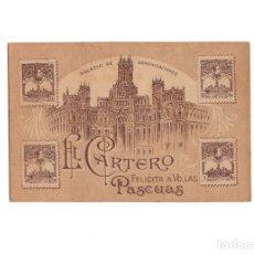 Postales: EL CARTERO FELICITA LAS PASCUAS. PALACIO DE COMUNICACIONES MADRID. TARIFAS CORREOS EN EL REVERSO. Lote 175338828