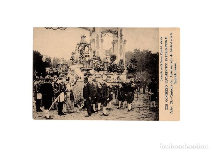 MADRID.- XXII CONGRESO EUCARISTICO INTERNACIONAL. CUSTODIA DEL AYUNTAMIENTO. (Postales - España - Comunidad de Madrid Antigua (hasta 1939))