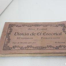 Postales: BLOG POSTAL VISTAS DEL ESCORIAL 20 TARJETAS PRIMERA SERIE HIJO DE NICOLÁS SERRANO. Lote 176747137