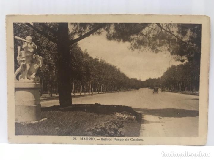 EL RETIRO MADRID ANTIGUO PASEO DE COCHES ANTIGUA POSTAL PASEO DEL RETIRO COCHES 1900 (Postales - España - Comunidad de Madrid Antigua (hasta 1939))