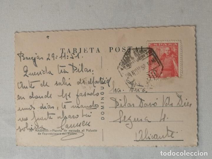 Postales: POSTAL DE MADRID.PUERTA DE ENTRADA AL PALACIO DE EXPOSICIONES DEL RETIRO.AÑO 1951. - Foto 2 - 177828729
