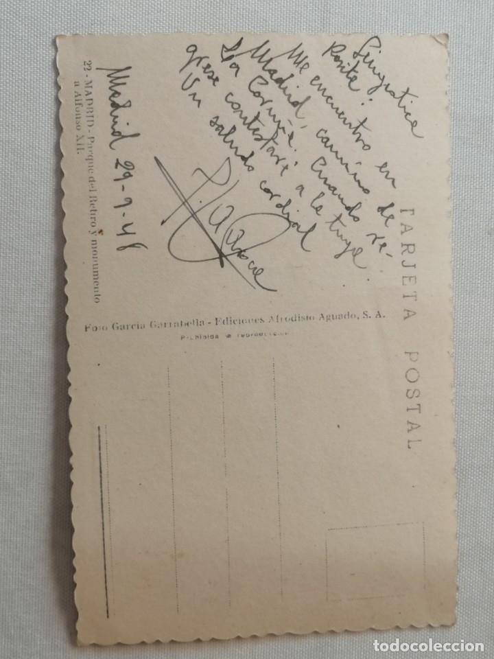 Postales: POSTAL DE MADRID.ESTANQUE DEL RETIRO Y MONUMENTO A ALFONSO XII.AÑO 1948. - Foto 2 - 177842177