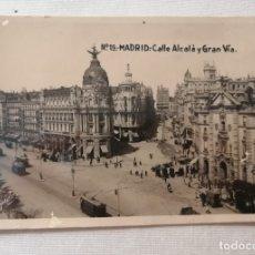Postales: POSTAL MADRID.C/DE ALCALÁ/GRAN VÍA.PREGUNTANDO POR LA EXPLOSIÓN PIROTÉCNICA EN ALICANTE EL AÑO 1934 . Lote 177952514