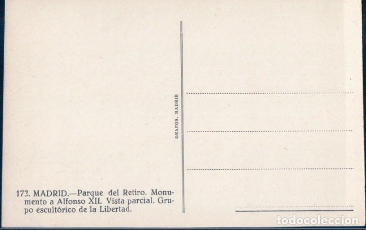 Postales: POSTAL MADRID - PARQUE DEL RETIRO - MONUMENTO ALFONSO XII - LA LIBERTAD - 173 GRAFOS - Foto 2 - 178911263