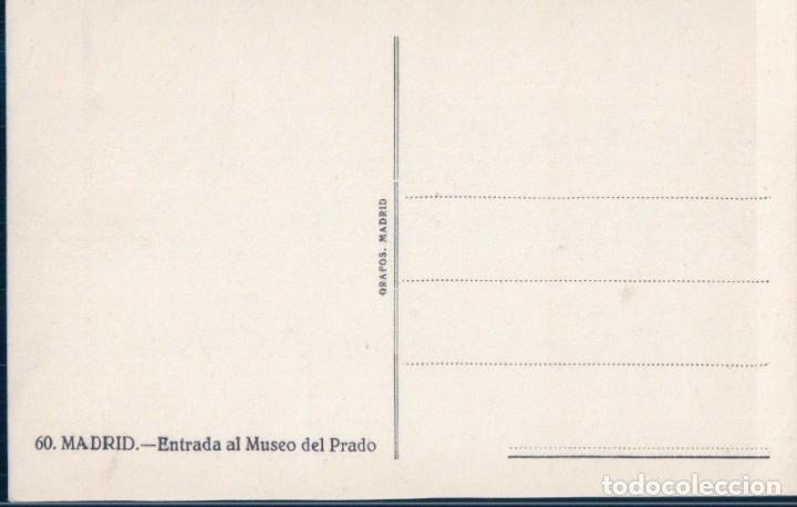 Postales: POSTAL MADRID - ENTRADA AL MUSEO DEL PRADO - 60 GRAFOS - Foto 2 - 178911483