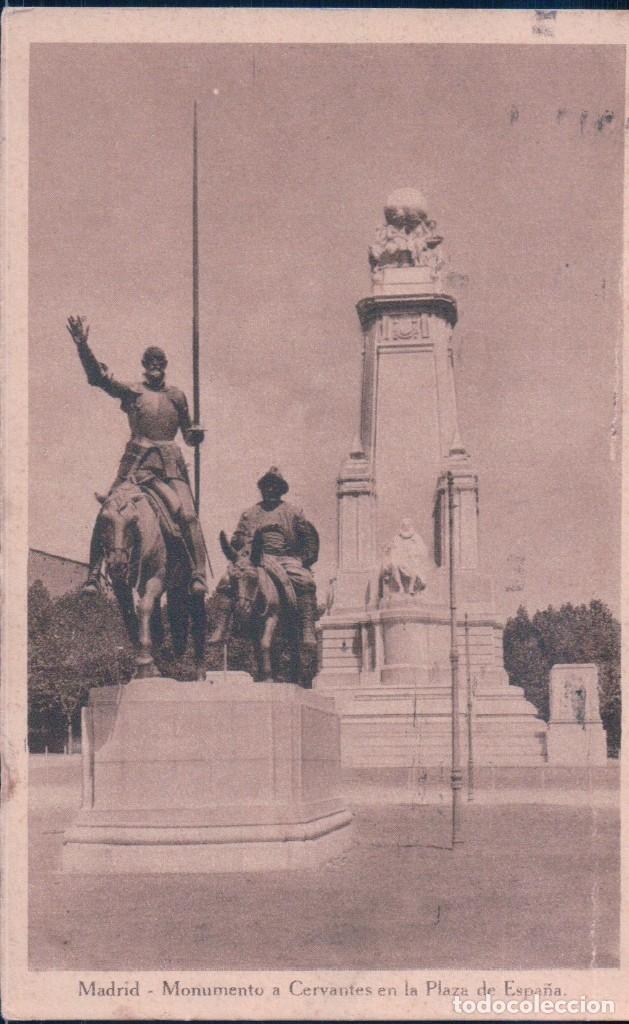 POSTAL MADRID - MONUMENTO A CERVANTES EN LA PLAZA DE ESPAÑA - SANCHO PANZA - CIRCULADA (Postales - España - Comunidad de Madrid Antigua (hasta 1939))