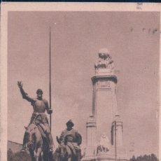 Postales: POSTAL MADRID - MONUMENTO A CERVANTES EN LA PLAZA DE ESPAÑA - SANCHO PANZA - CIRCULADA. Lote 179179887