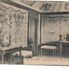 Postales: EL ESCORIAL - CASITA DEL PRINCIPE - SALA DE LOS BORDADOS - FOTOTIPIA CASTAÑEIRA - MADRID -. Lote 180121512