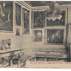 Postales: EL ESCORIAL - CASITA DEL PRINCIPE - SALA DEL BARQUILLO - FOTOTIPIA CASTAÑEIRA - MADRID -. Lote 180121643