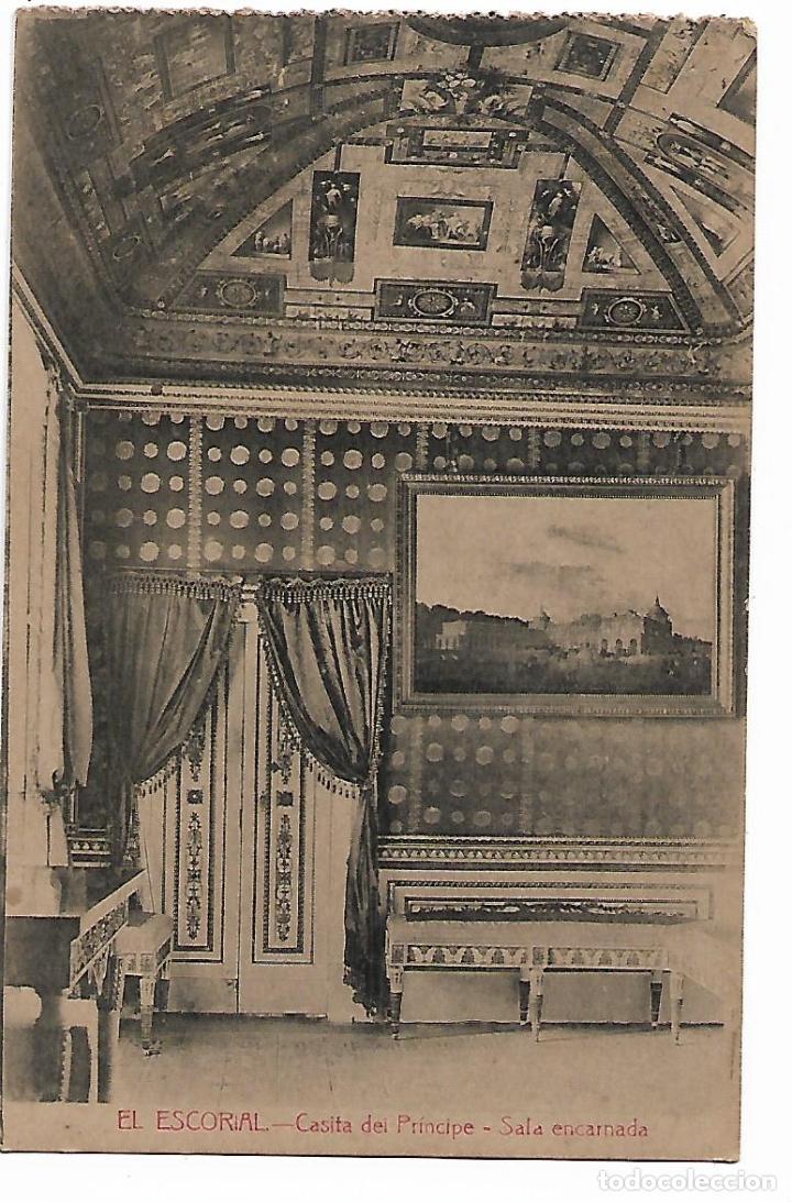 EL ESCORIAL - CASITA DEL PRINCIPE - SALA ENCARNADA - FOTOTIPIA CASTAÑEIRA - MADRID - (Postales - España - Comunidad de Madrid Antigua (hasta 1939))