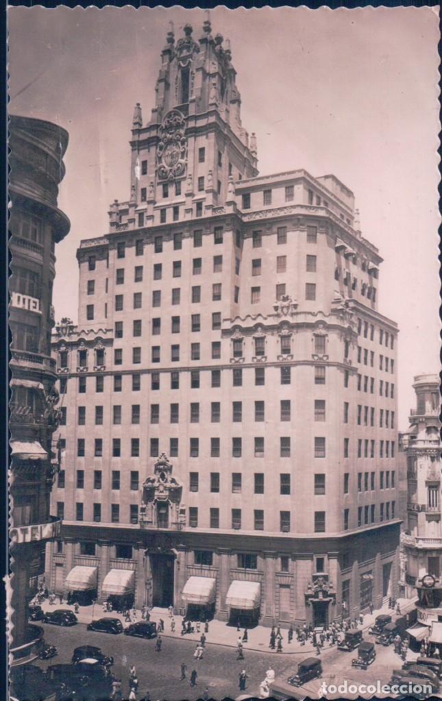 POSTAL MADRID - LA TELEFONICA - MOLINA - 6 - CIRCULADA - COCHES EPOCA (Postales - España - Comunidad de Madrid Antigua (hasta 1939))