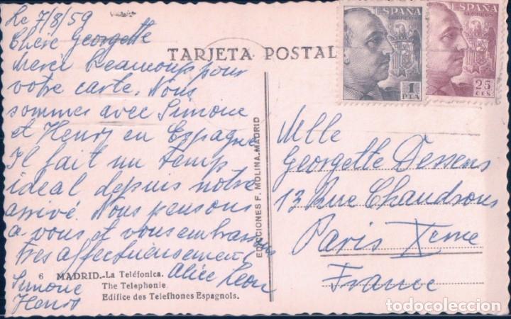 Postales: POSTAL MADRID - LA TELEFONICA - MOLINA - 6 - CIRCULADA - COCHES EPOCA - Foto 2 - 180328382