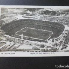 Postales: MADRID ESTADIO DEL REAL MADRID CLUB DE FUTBOL VISTA AEREA CAMPO DE FUTBOL ESTADIO. Lote 183442986